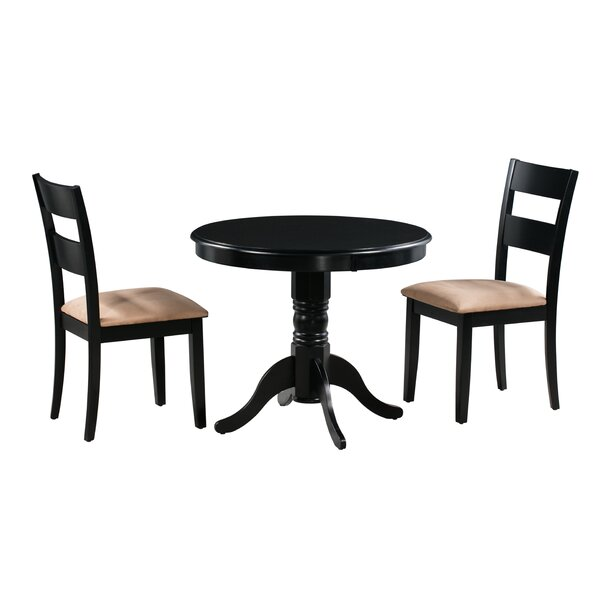 Terence 3 Piece Solid Wood Dining Set by Alcott Hill Alcott Hill