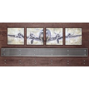 'Air Plane' 4 Piece Framed Painting Print by 17 Stories