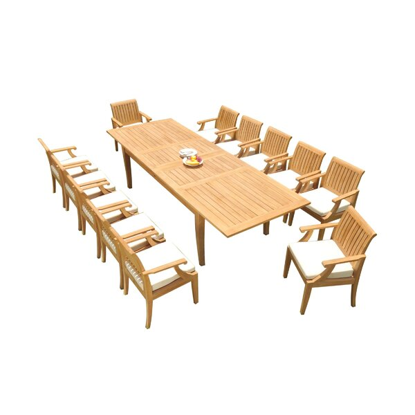 Darin 13 Piece Teak Dining Set by Rosecliff Heights