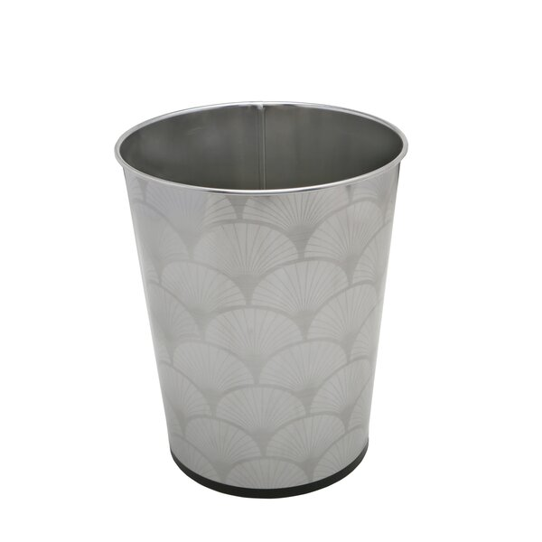 Scallop Design Stainless Steel 1.32 Gallon Waste Basket by Bath Bliss