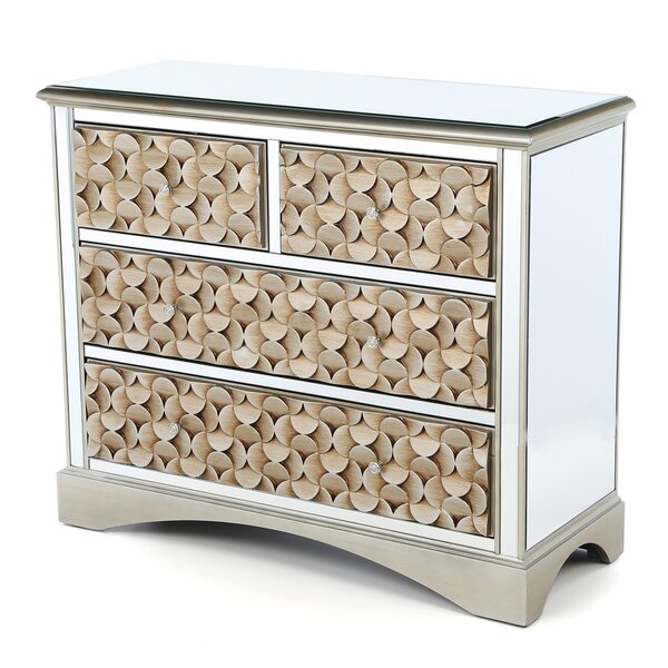 Sheila Mirrored 4 Drawer Chest by House of Hampton