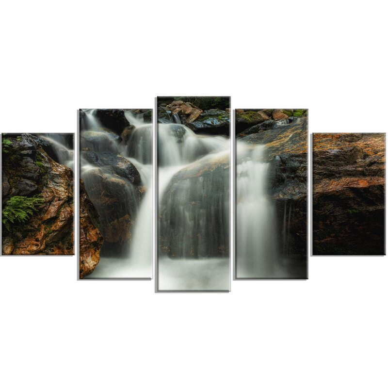 DesignArt \'Slow Motion Waterfall on Rocks\' 5 Piece Wall Art on ...