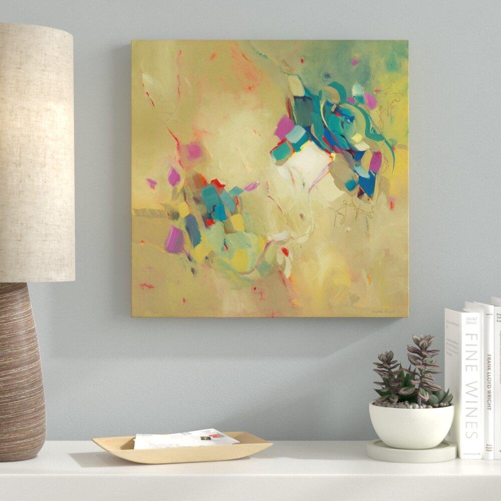 Latitude Run \'Blue Violin\' Acrylic Painting Print | Wayfair