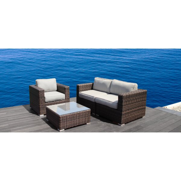 Whitmer 4 Piece Sectional Set with Cushions by Rosecliff Heights