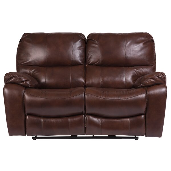 Gracehill Leather Reclining Loveseat by Three Posts