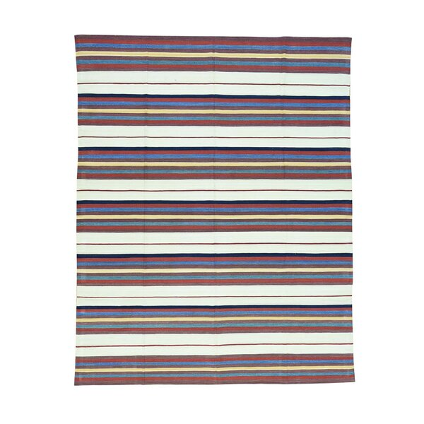 One-of-a-Kind Altenwald Striped Flat Weave Qashqai Kilim Oriental Hand-Knotted Red/Blue Area Rug by World Menagerie