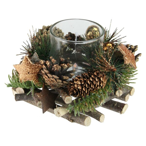 Stars and Ornaments Christmas Glass Votive Holder by The Holiday Aisle