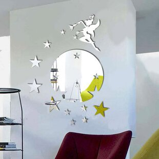 Flying Fairy Tinker Bell With Stars Round Mirror Wall Art Wall Decal