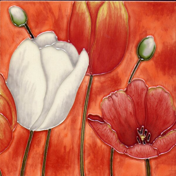 3 Poppies Tile Wall Decor by Continental Art Center