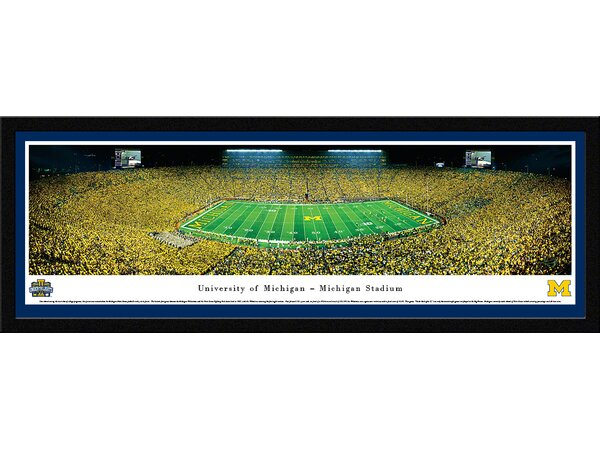 NCAA Michigan, University of - Under The Lights - 2013 50 Yard Line Framed Photographic Print by Blakeway Worldwide Panoramas, Inc