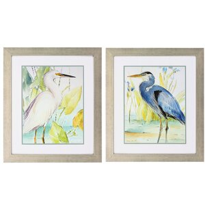 Heron Egret 2 Piece Framed Painting Print Set by Propac Images