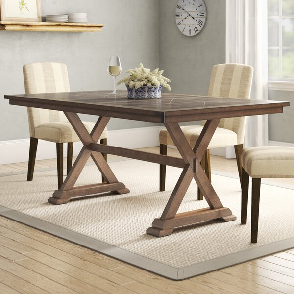 Gertz Trestle Solid Wood Dining Table by Laurel Foundry Modern Farmhouse