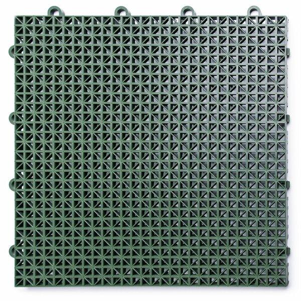 12 x 12 Plastic Interlocking Deck Tile in Green by DuraGrid
