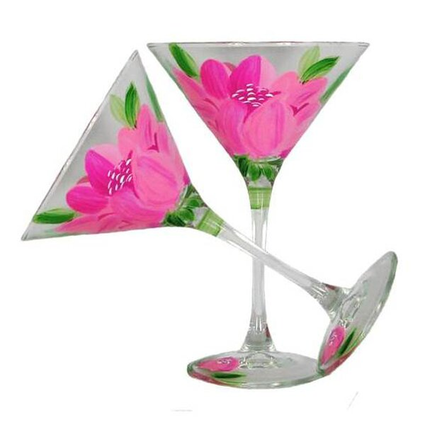 Peony Martini Glass (Set of 2) by Golden Hill Studio