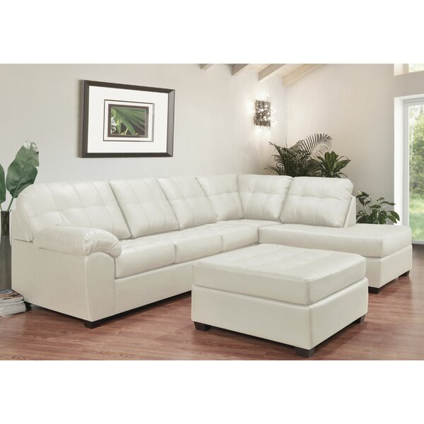 Yarber Right Hand Facing Leather Sectional With Ottoman By Red Barrel Studio