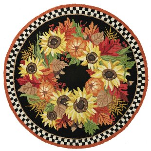Shopping for Mcglade Autumn Wreath Hand-Woven Wool Black/Yellow Area Rug By The Holiday Aisle