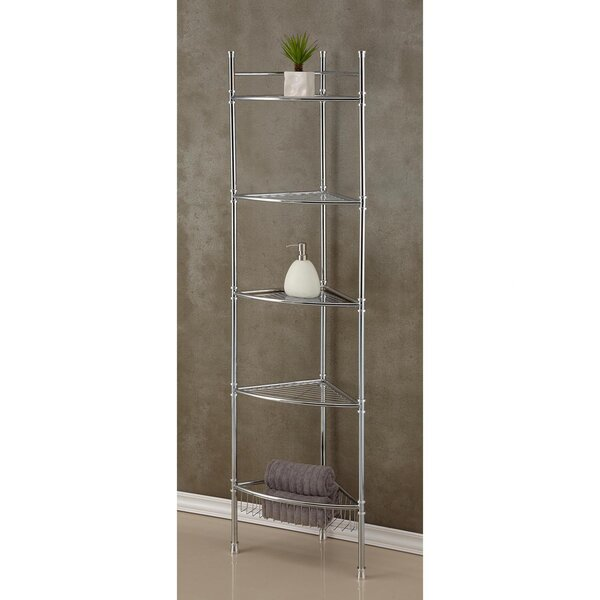 5 Tier Corner 13.5 W x 63 H Bathroom Shelf by Fox Hill Trading
