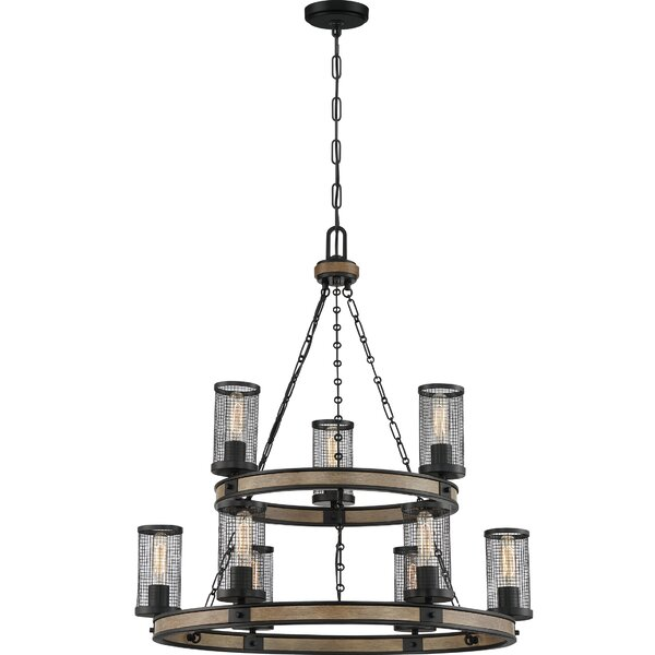 Middlet 9 - Light Shaded Wagon Wheel Chandelier by 17 Stories 17 Stories