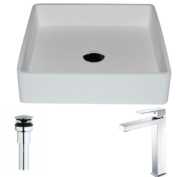 Passage Stone Square Vessel Bathroom Sink with Faucet by ANZZI