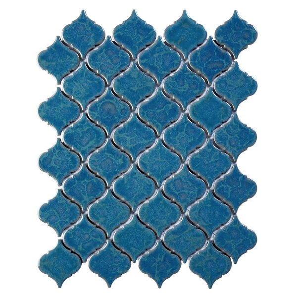 Tessen 2.2 x 2.5 Porcelain Mosaic Tile in Brine Blue by Solistone