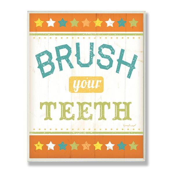 Brush Your Teeth Rainbow Typography Bathroom Wall Plaque by Stupell Industries