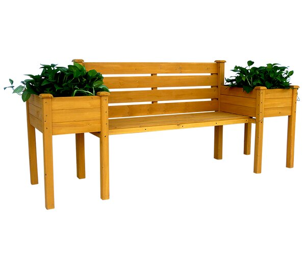 Wood Planter Bench by Leisure Season