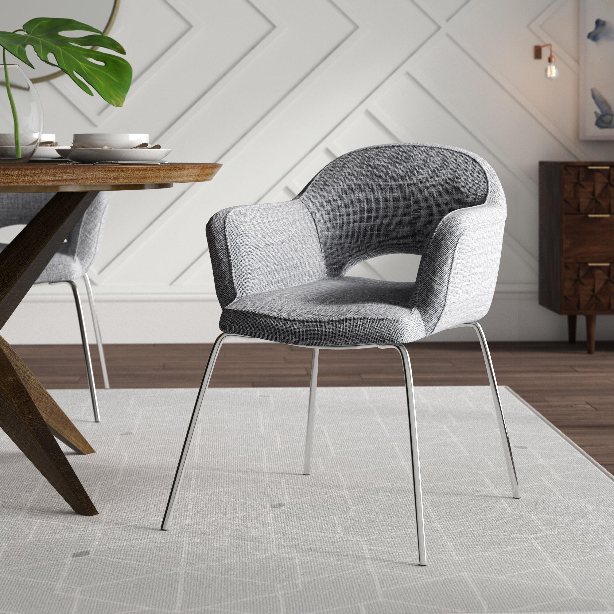 Mercury Row Merauke Upholstered Arm Chair In Chrome Reviews Wayfair
