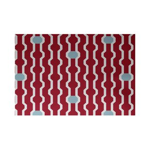 Uresti Decorative Holiday Geometric Print Red Indoor/Outdoor Area Rug