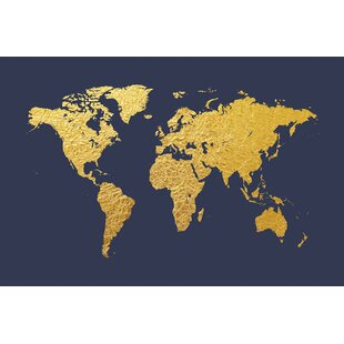Gold world map wall art youll love wayfair world map series gold foil on denim graphic art on wrapped canvas sciox Gallery