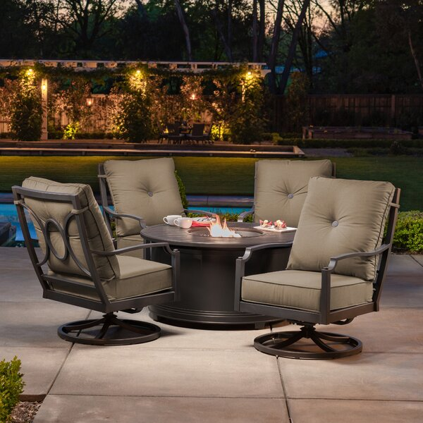 Schneck 5 Piece Multiple Chairs Seating Group with Sunbrella Cushions by Red Barrel Studio