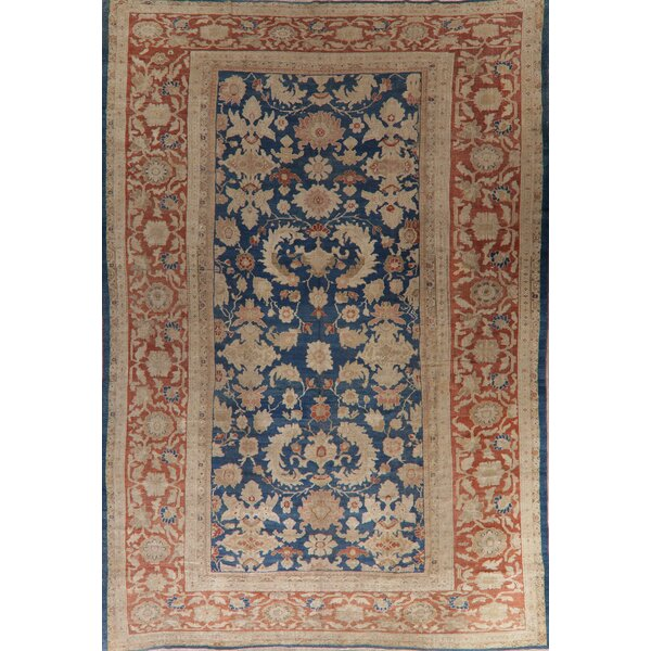 One-of-a-Kind Stansel Hand-Knotted Sultanabad Blue/Ivory 10'5 x 15'9 Wool Area Rug