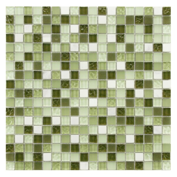 Sierra 0.58 x 0.58 Glass and Natural Stone Mosaic Tile in Green/White by EliteTile