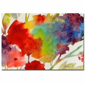 'Rainbow Flowers' by Sheila Golden Painting Print on Canvas by Trademark Fine Art