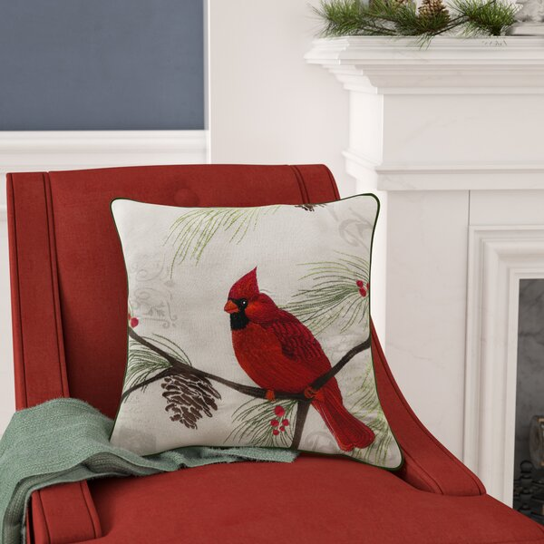 Broadalbin Christmas Cardinal Throw Pillow by Alcott Hill