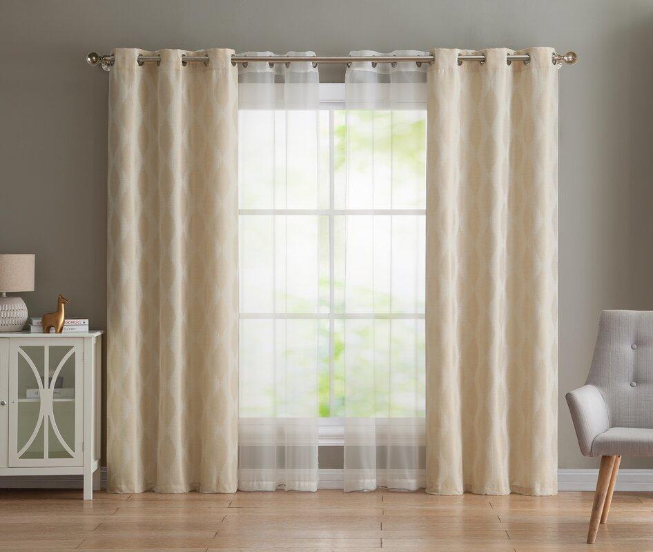 Three Posts Yates Geometric Semi Sheer Grommet Curtain Panels Reviews