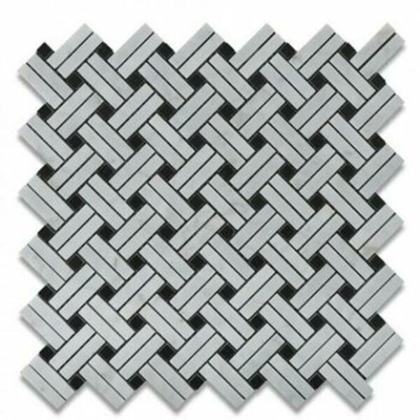 Carrara Basketweave Honed 12 x 12 Marble Mosaic Tile