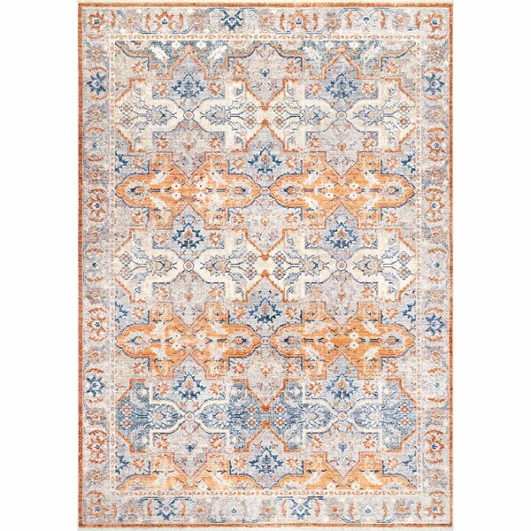 Onley Orange/Blue Area Rug by Bungalow Rose