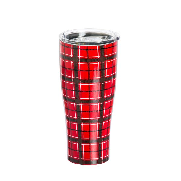 Stodghill Red Plaid Travel Mug by Loon Peak