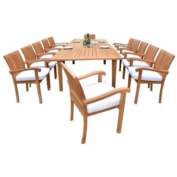 Rawles Luxurious 13 Piece Teak Dining Set by Rosecliff Heights