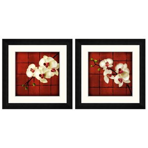 'Floral Oriental' 2 Piece Framed Graphic Art Set by World Menagerie