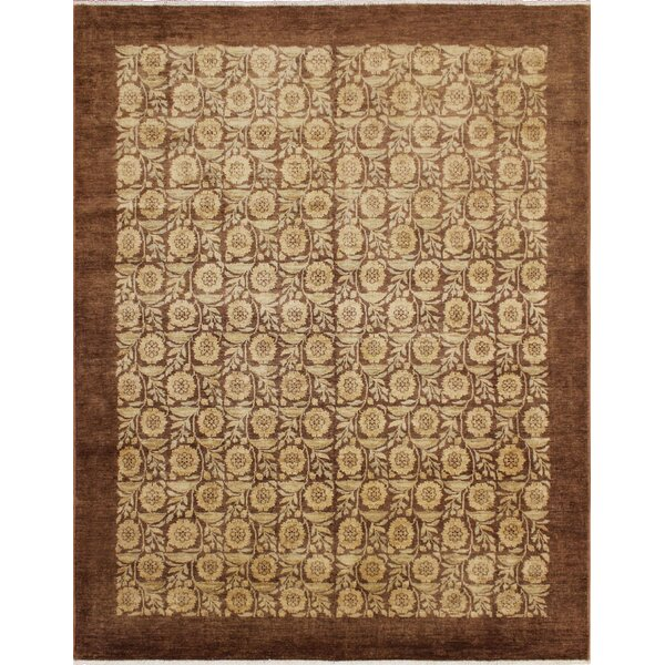 One-of-a-Kind Romona Hand Knotted Rectangle Wool Chocolate Area Rug by Isabelline