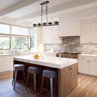 Dennis Retro Kitchen Linear Island Pendant Lighting Clear Gl Shade Black Finish