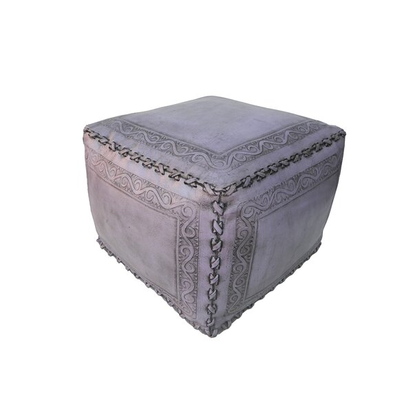 Classic Stitch Lila Leather Pouf by New World Trading New World Trading