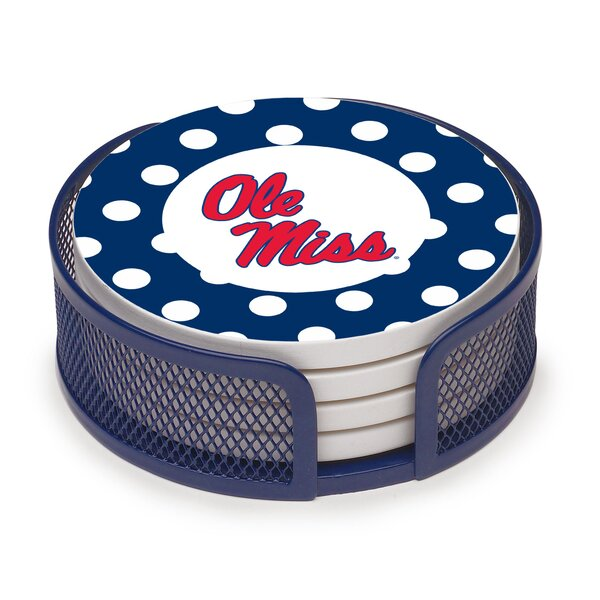 5 Piece University of Mississippi Dots Collegiate Coaster Gift Set by Thirstystone