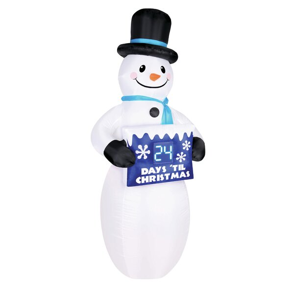 Snowman with Electronic Countdown Sign Inflatable by The Holiday Aisle