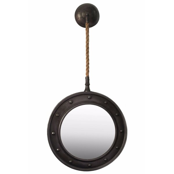 Moeller Wall Mirror with Pimpled Frame Design and Rope Hanger by Williston Forge
