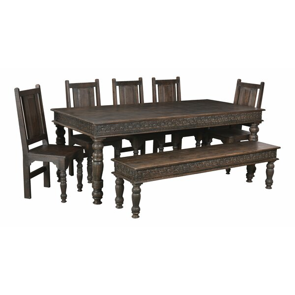 Lorelai Wood Carved Dining Bench by One Allium Way