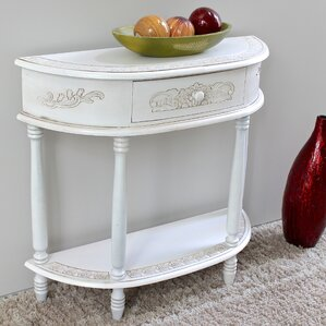 Lepore 2-Tier Antique White Wood Console Table by Lark Manor