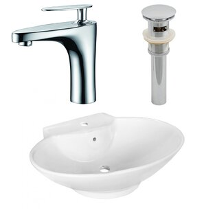 Ceramic Oval Vessel Bathroom Sink with Faucet and Overflow ByAmerican Imaginations