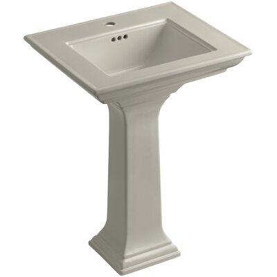 Pedestal Sink Ceramic Overflow Sink Faucet Mount Single
